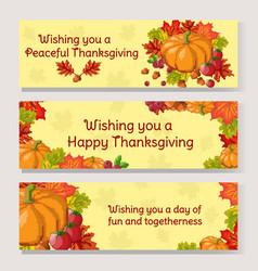 thanksgiving day banner set pixel art autumn vector image vector image