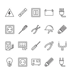 thin line electrical icon set vector image