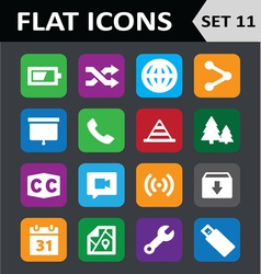Universal Colorful Flat Icons Set 11 vector image