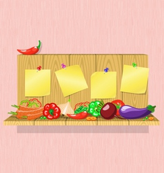 vegetables on the shelf with stickers vector image vector image