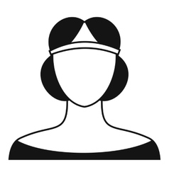 Medieval woman in tiara icon simple style vector