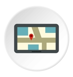 Tablet with map of area icon flat style vector
