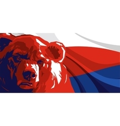 Angry bear against and russian flag vector