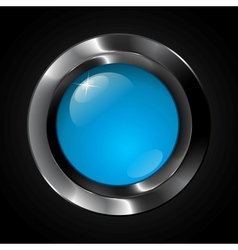 Blue glass realistic plastic button vector image