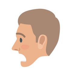 surprised man face flat icon vector image
