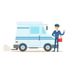 Postman in blue uniform with the car delivering vector