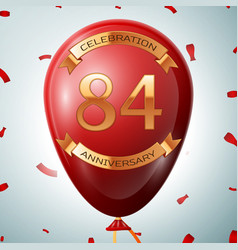 Red balloon with golden inscription 84 years vector