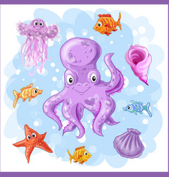 set on a sea theme vector image