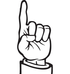 Black and white index finger vector image