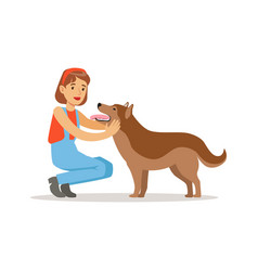 farmer woman with her dog vector image