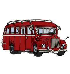 Vintage dark red bus vector