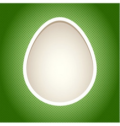 Easter paper cut card template with egg vector image