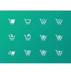 Shopping cart icons on green background vector image