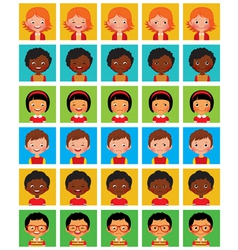 Set of stylized avatars with different facial emot vector image