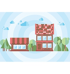Brick house on a blue background vector