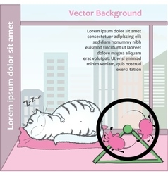 Fat cat sleeps turn the wheel mouse vector