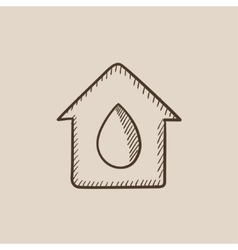 House with water drop sketch icon vector