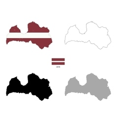 Latvia country black silhouette and with flag on vector