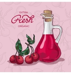 Extra fresh organic cherry juice vector