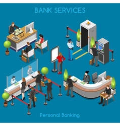 Bank Office 02 People Isometric vector image