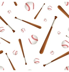 Baseball bats and balls on white seamless pattern vector image