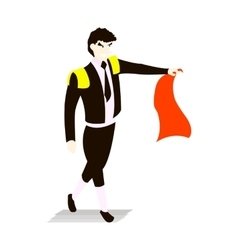 Bullfighter in a black suit and tie with capein vector