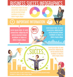 business success cartoon infographic poster vector image vector image