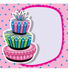 Card with birthday cake vector