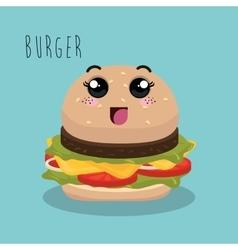 cartoon burger food fast facial expression design vector image vector image