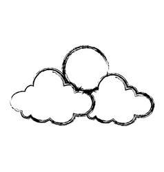 Cartoon sun and cloud sky weather icon vector
