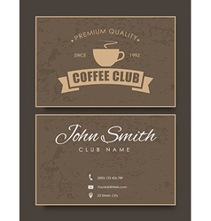 coffee card template in retro style with texture vector image vector image
