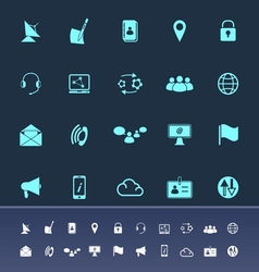 Communication color icons on navy background vector
