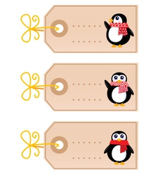 cute christmas penguin tags vector image vector image