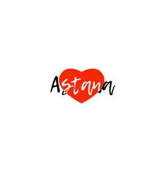 European capital city astana love heart text logo vector