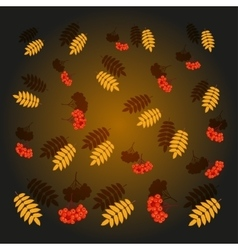 Falling autumn leaves and rowan berries vector