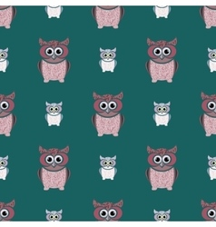 Green and pink owls set vector image vector image