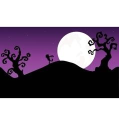 Halloween zombie walking in hills Silhouette vector image vector image