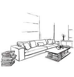 hand drawn room interior sketch chair and window vector image vector image