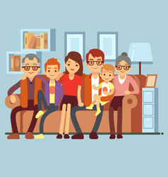 happy family sitting on sofa grandpa and grandma vector image vector image