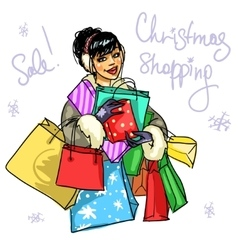 Happy woman with presents vector image vector image