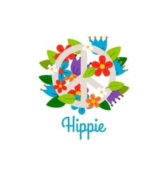 Hippie vintage label with flowers vector