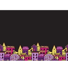 Houses Border Night vector image