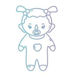 Line baby girl with pijama and pacifier vector