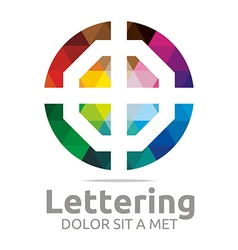 Logo Abstract Lettering O Rainbow Alphabet Icon vector image vector image