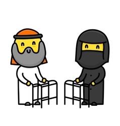 Muslim cartoon style cute old couple with walk vector