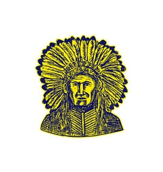 Native american indian chief warrior etching vector