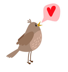 Nightingale cute bird icon vector