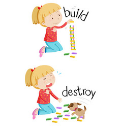 Opposite words for build and destroy vector