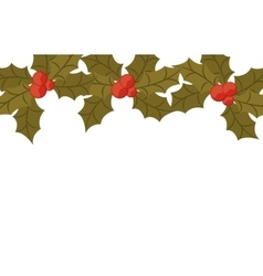 Ornament with leaves christmas and berrys vector