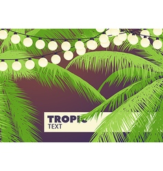 Palm trees with yellow garlands vector